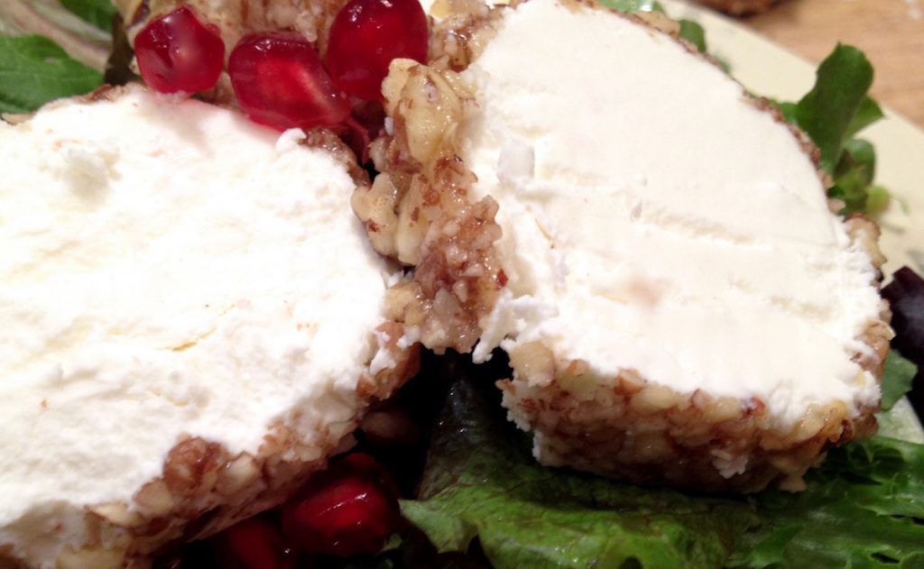 Pecan Crusted Goat Cheese Log (Sliced View)