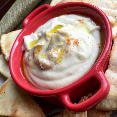 White Bean Dip with Seasoned Pita Chips