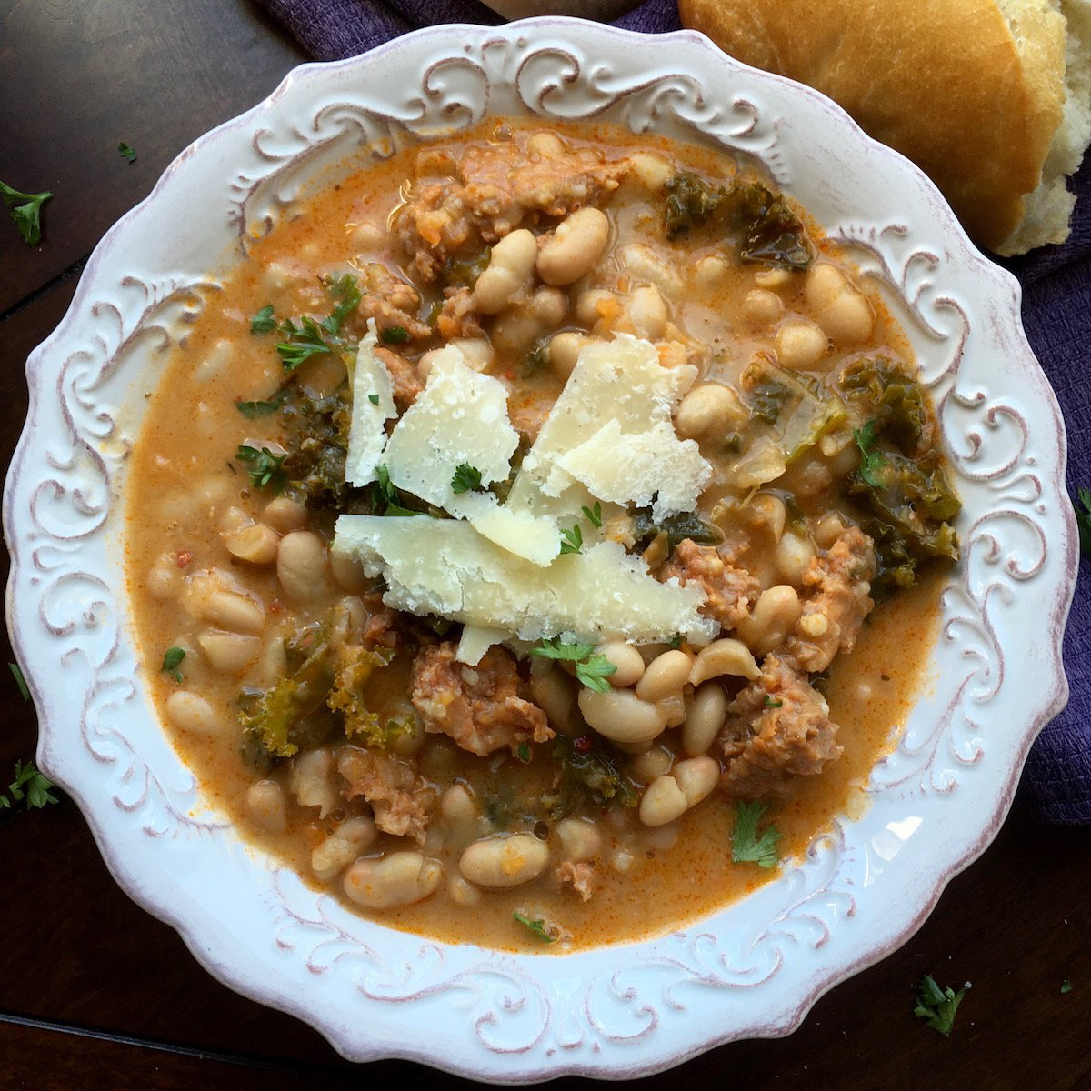 One-Skillet White Bean and Spicy Sausage Soup