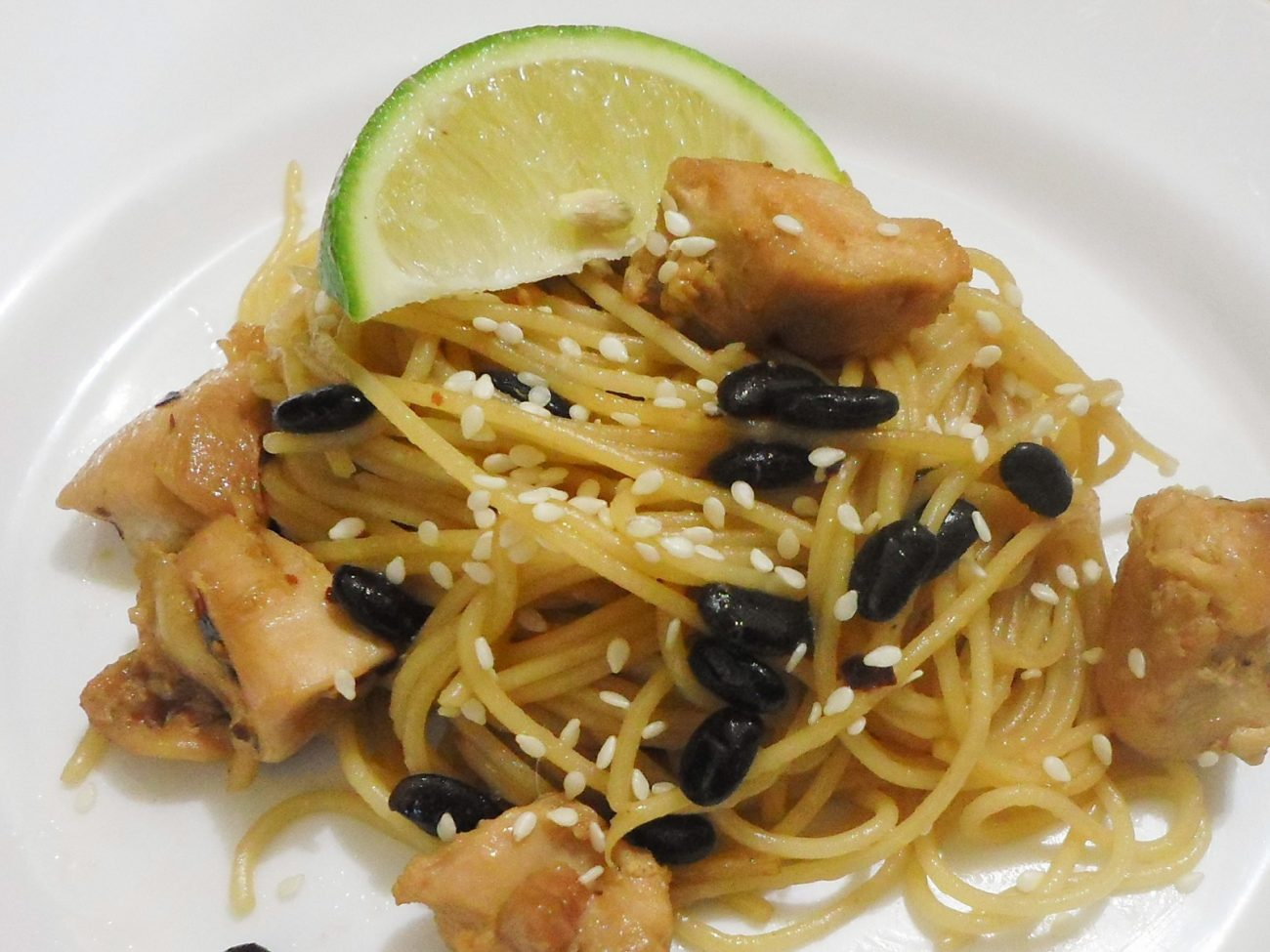 Black Bean Chicken Spaghetti